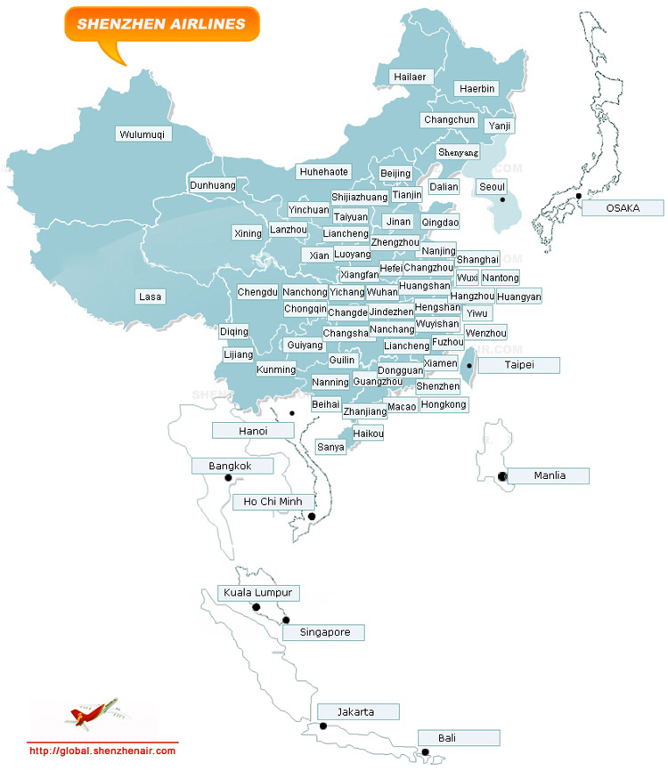 Shenzhen Airlines route map