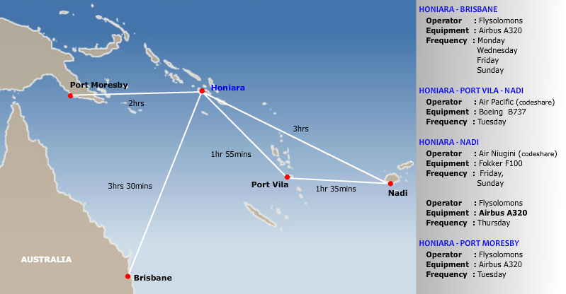 Solomon Airlines route map - international routes