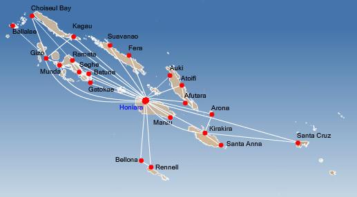 Solomon Airlines route map - domestic routes