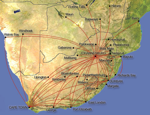South African Airways route map - regional routes