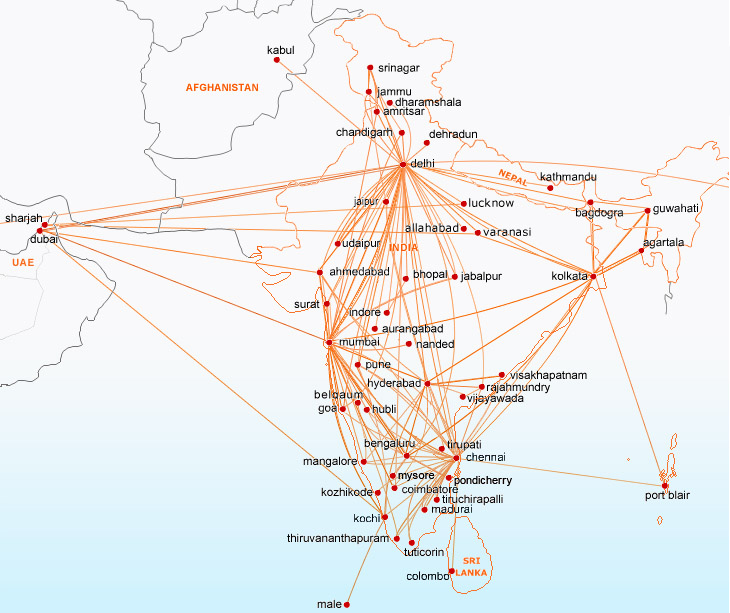 SpiceJet route map