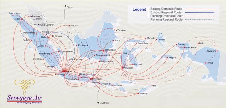 Sriwijaya Air route map