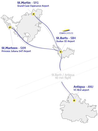 Saint Barth Commuter route map