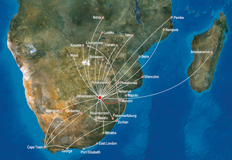 Swaziland Airlink route map