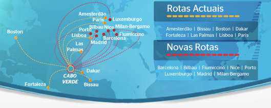 TACV Cabo Verde Airlines route map - international routes