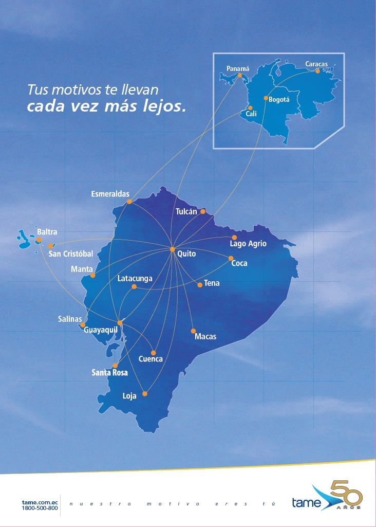 TAME Linea Aerea del Ecuador route map