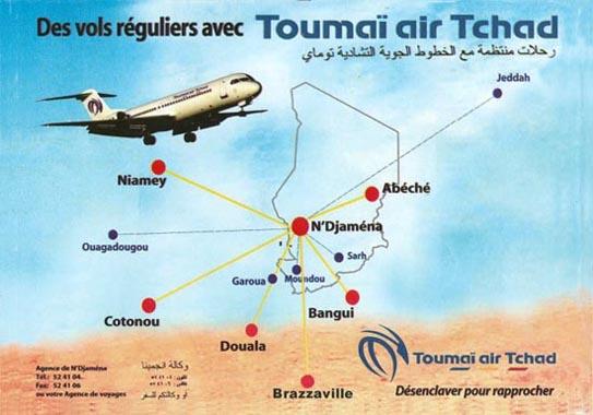 Toumai Air Tchad route map