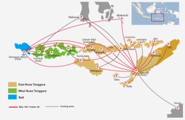TransNusa Air Services route map