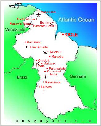 Trans Guyana Airways route map