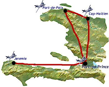 Tropical Airways route map - domestic routes