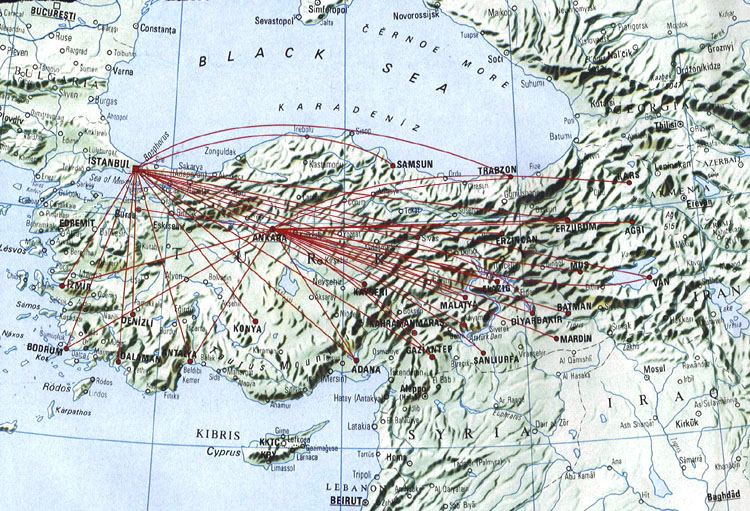 Turkish Airlines route map - domestic routes