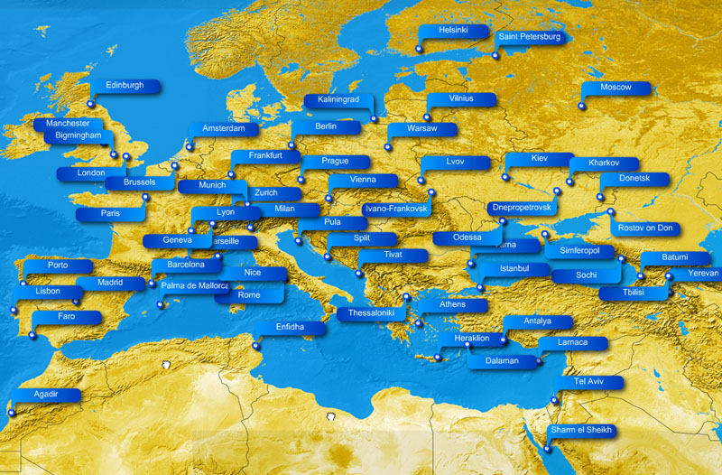 Ukraine International Airlines route map - Europe