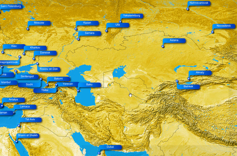 Ukraine International Airlines route map - Central Asia