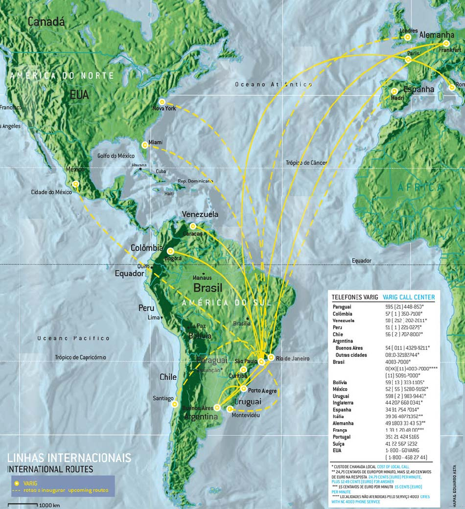 VARIG Linhas Aereas route map - international routes