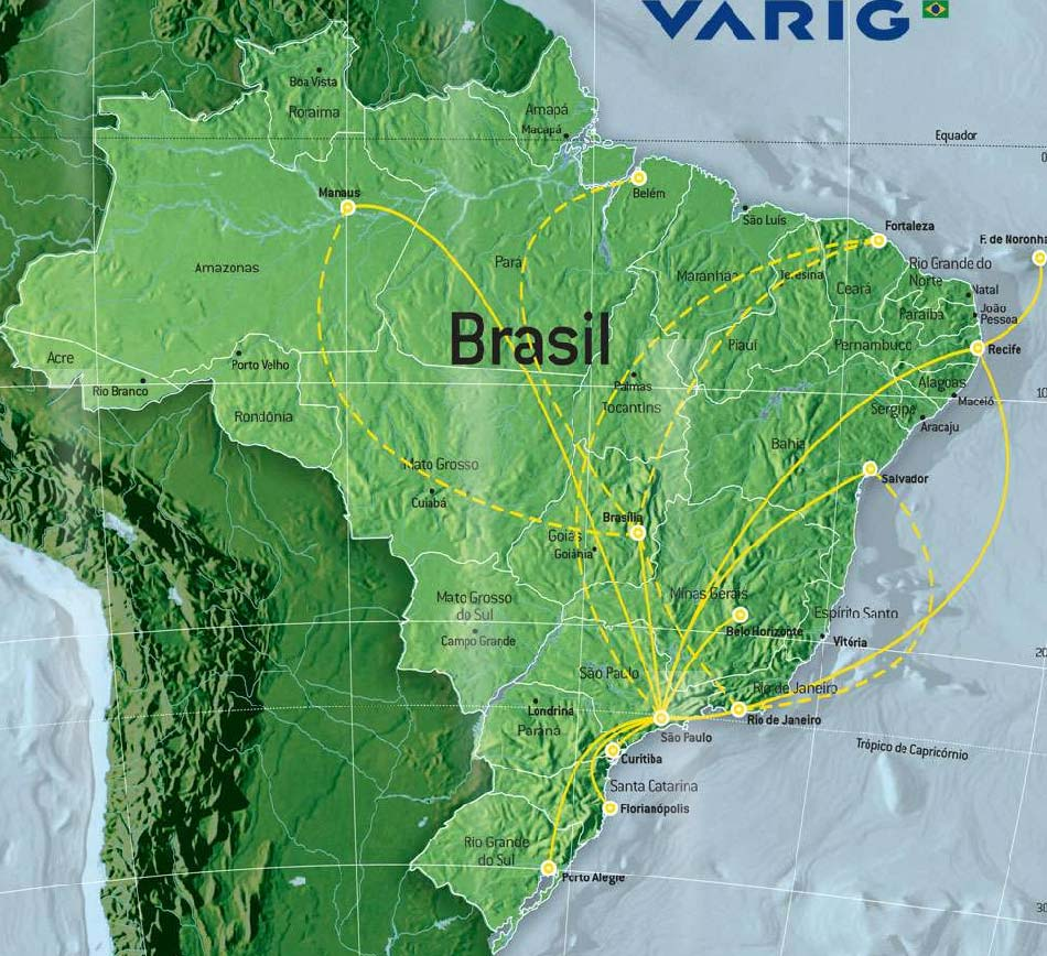VARIG Linhas Aereas route map - domestic routes