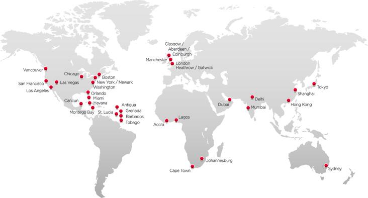 Virgin Atlantic route map - longhaul routes