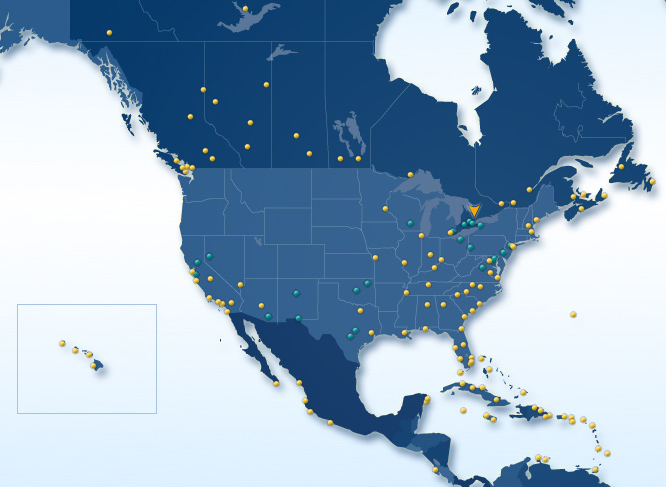 WestJet route map