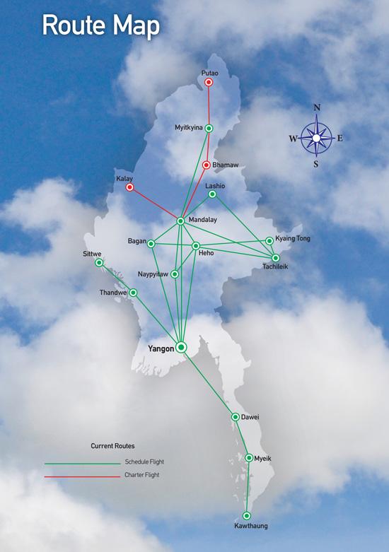 Yangon Airways route map