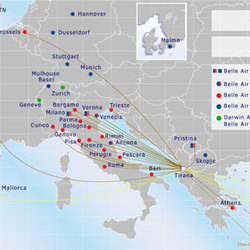 Routes from Tirana