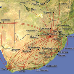 route map of south africa South African Airways Route Map International Routes route map of south africa